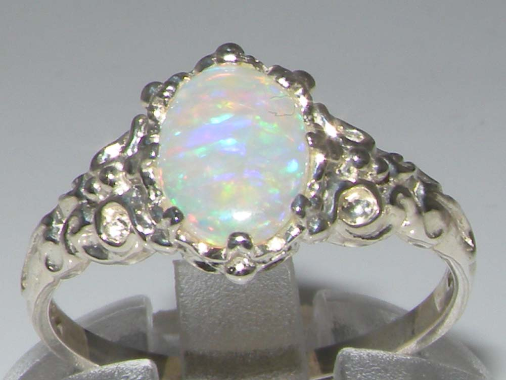 Luxurious Solid 925 Sterling Silver Natural Fiery Opal Solitaire Engagement R